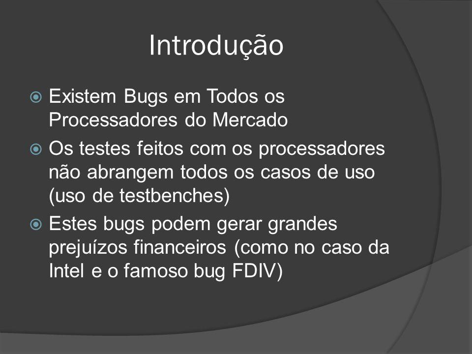 Introdução Existem Bugs em Todos os Processadores do Mercado Os testes feitos com os processadores não abrangem todos os casos de uso (uso de testbenc