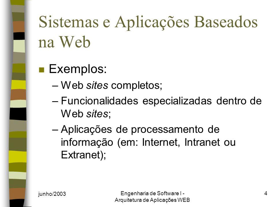 junho/2003 Engenharia de Software I - Arquitetura de Aplicações WEB 4 Sistemas e Aplicações Baseados na Web n Exemplos: –Web sites completos; –Funcionalidades especializadas dentro de Web sites; –Aplicações de processamento de informação (em: Internet, Intranet ou Extranet);