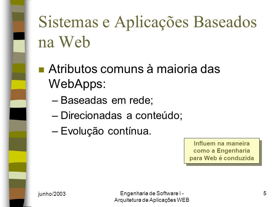 junho/2003 Engenharia de Software I - Arquitetura de Aplicações WEB 5 Sistemas e Aplicações Baseados na Web n Atributos comuns à maioria das WebApps: –Baseadas em rede; –Direcionadas a conteúdo; –Evolução contínua.