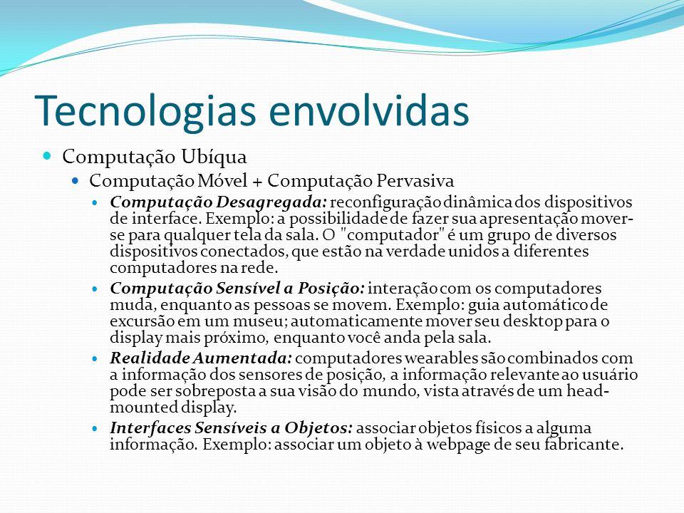 Tecnologias envolvidas Computação Ubíqua Computação Móvel + Computação Pervasiva Computação Desagregada: reconfiguração dinâmica dos dispositivos de i