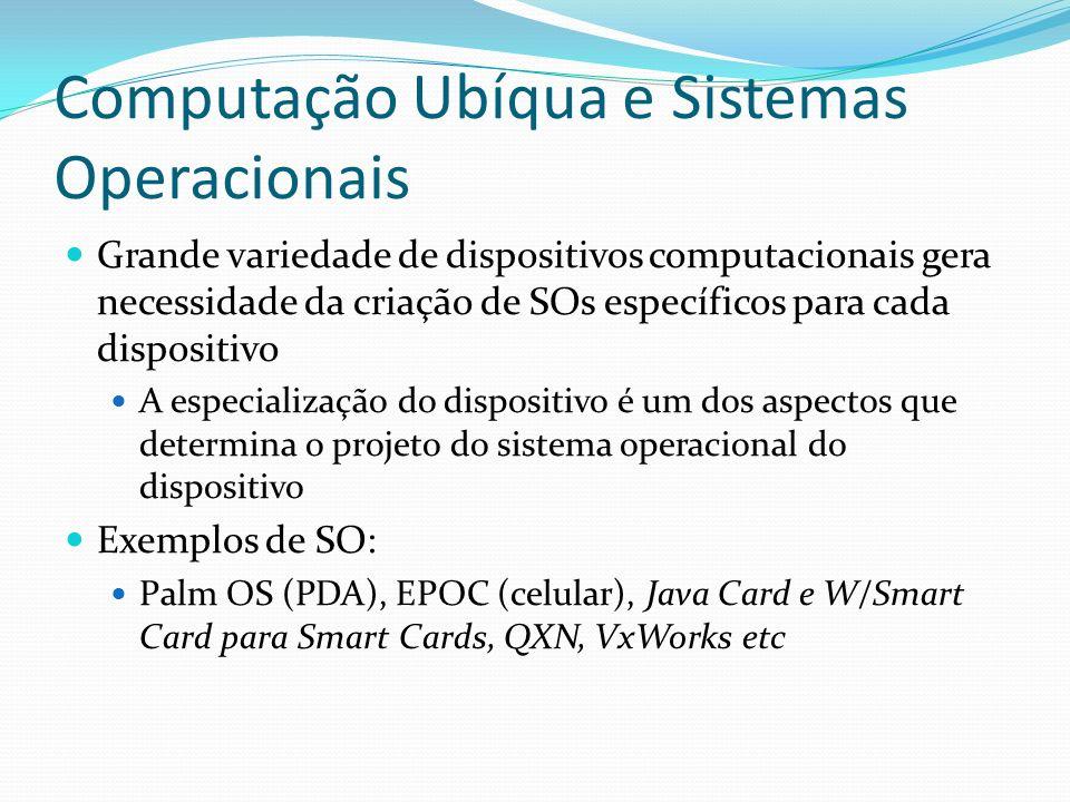 Computação Ubíqua e Sistemas Operacionais Grande variedade de dispositivos computacionais gera necessidade da criação de SOs específicos para cada dis