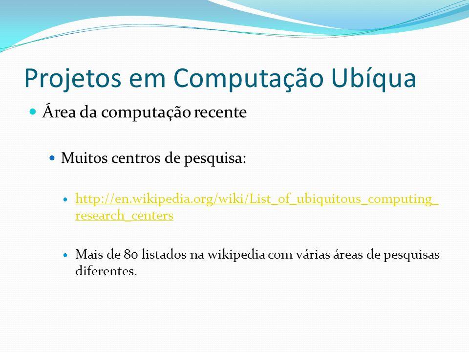 Projetos em Computação Ubíqua Área da computação recente Muitos centros de pesquisa: http://en.wikipedia.org/wiki/List_of_ubiquitous_computing_ resear