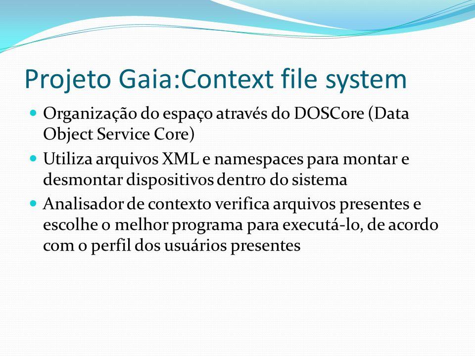 Projeto Gaia:Context file system Organização do espaço através do DOSCore (Data Object Service Core) Utiliza arquivos XML e namespaces para montar e d