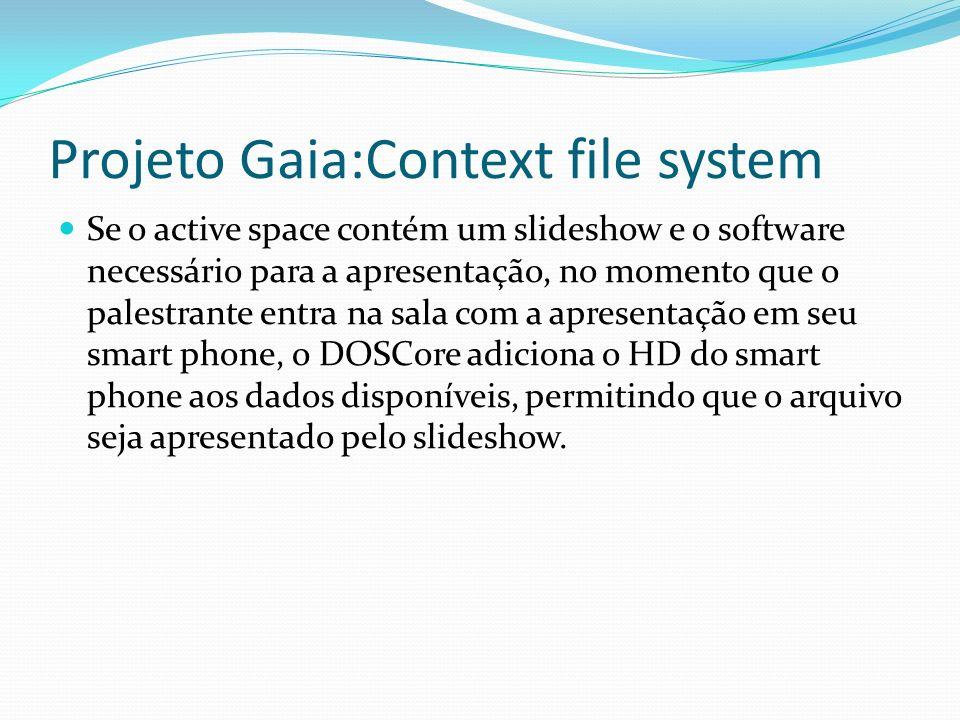 Projeto Gaia:Context file system Se o active space contém um slideshow e o software necessário para a apresentação, no momento que o palestrante entra