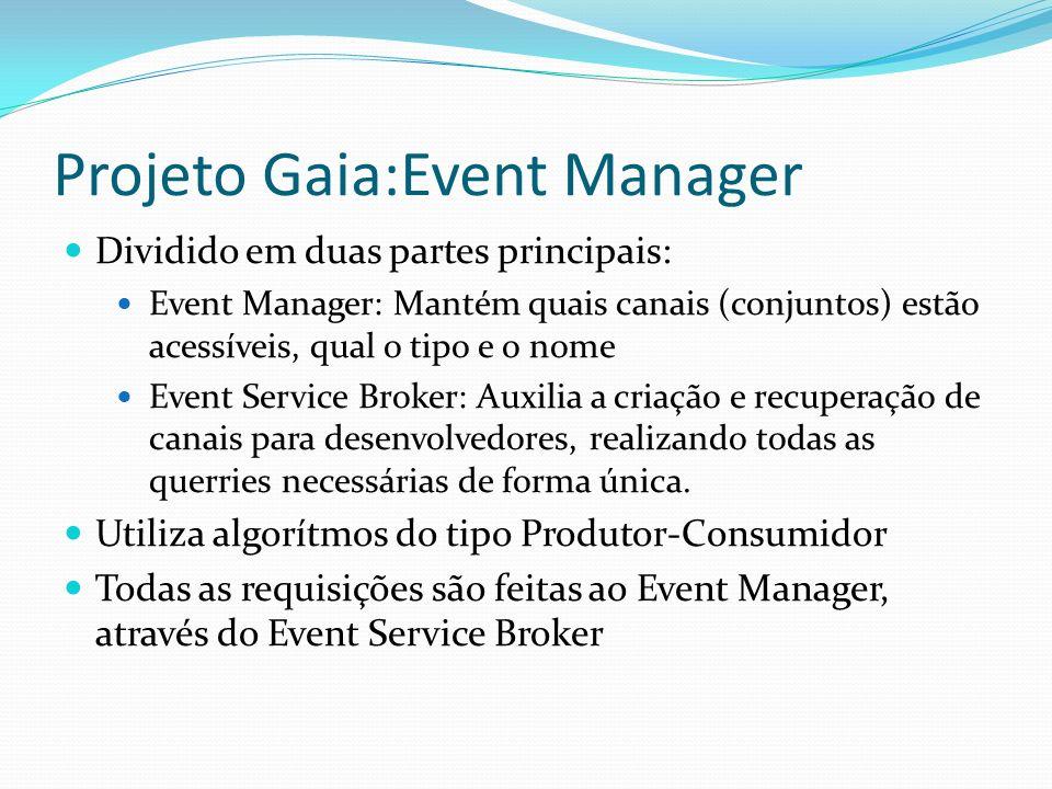 Projeto Gaia:Event Manager Dividido em duas partes principais: Event Manager: Mantém quais canais (conjuntos) estão acessíveis, qual o tipo e o nome E