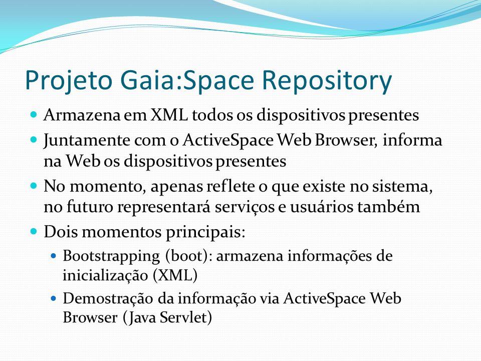 Projeto Gaia:Space Repository Armazena em XML todos os dispositivos presentes Juntamente com o ActiveSpace Web Browser, informa na Web os dispositivos