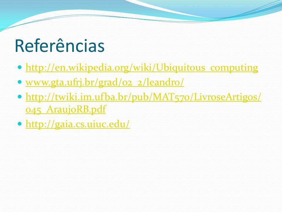 Referências http://en.wikipedia.org/wiki/Ubiquitous_computing www.gta.ufrj.br/grad/02_2/leandro/ http://twiki.im.ufba.br/pub/MAT570/LivroseArtigos/ 04