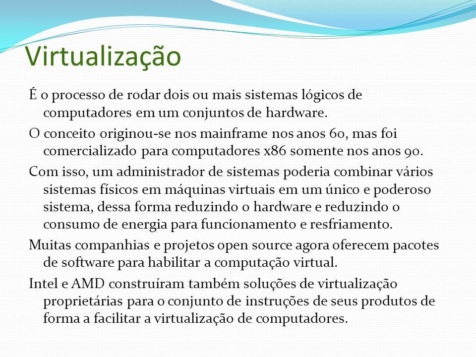 Virtualização É o processo de rodar dois ou mais sistemas lógicos de computadores em um conjuntos de hardware. O conceito originou-se nos mainframe no