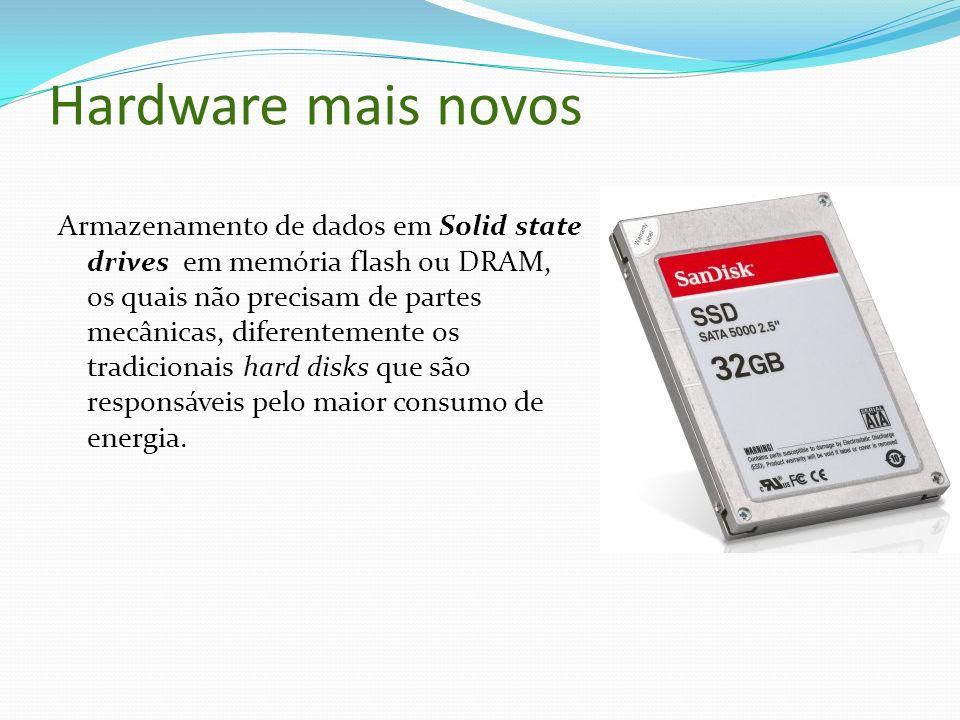 Hardware mais novos Armazenamento de dados em Solid state drives em memória flash ou DRAM, os quais não precisam de partes mecânicas, diferentemente o