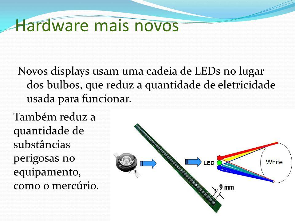 Hardware mais novos Novos displays usam uma cadeia de LEDs no lugar dos bulbos, que reduz a quantidade de eletricidade usada para funcionar. Também re
