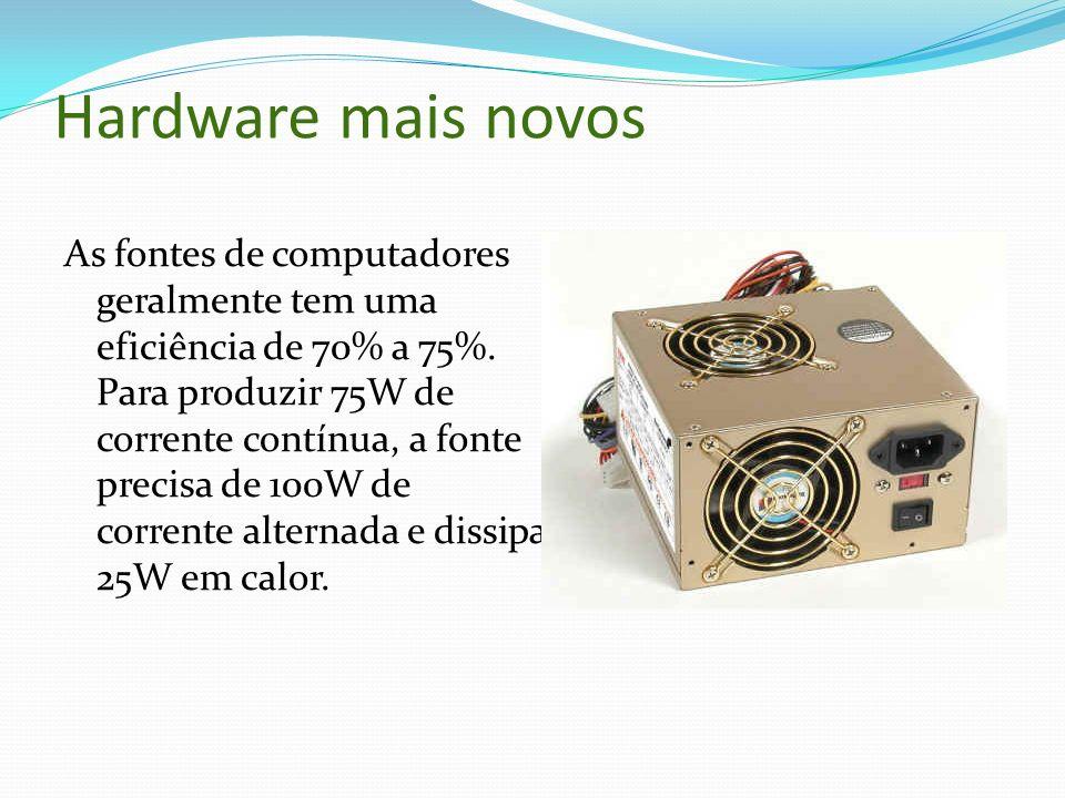 Hardware mais novos As fontes de computadores geralmente tem uma eficiência de 70% a 75%. Para produzir 75W de corrente contínua, a fonte precisa de 1