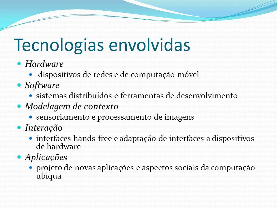 Tecnologias envolvidas Hardware dispositivos de redes e de computação móvel Software sistemas distribuídos e ferramentas de desenvolvimento Modelagem
