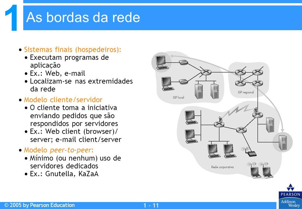 1 © 2005 by Pearson Education 1 - 11 Sistemas finais (hospedeiros): Executam programas de aplicação Ex.: Web, e-mail Localizam-se nas extremidades da