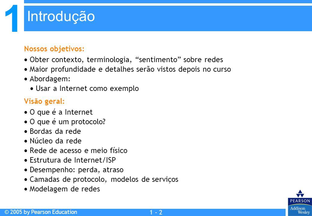 1 © 2005 by Pearson Education 1 - 33 casa ponto final do cabo rede de distribuição de cabo (simplificada) servidor(es) Arquiteturas de redes a cabo: visão geral