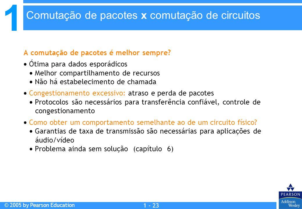 1 © 2005 by Pearson Education 1 - 23 A comutação de pacotes é melhor sempre? Ótima para dados esporádicos Melhor compartilhamento de recursos Não há e
