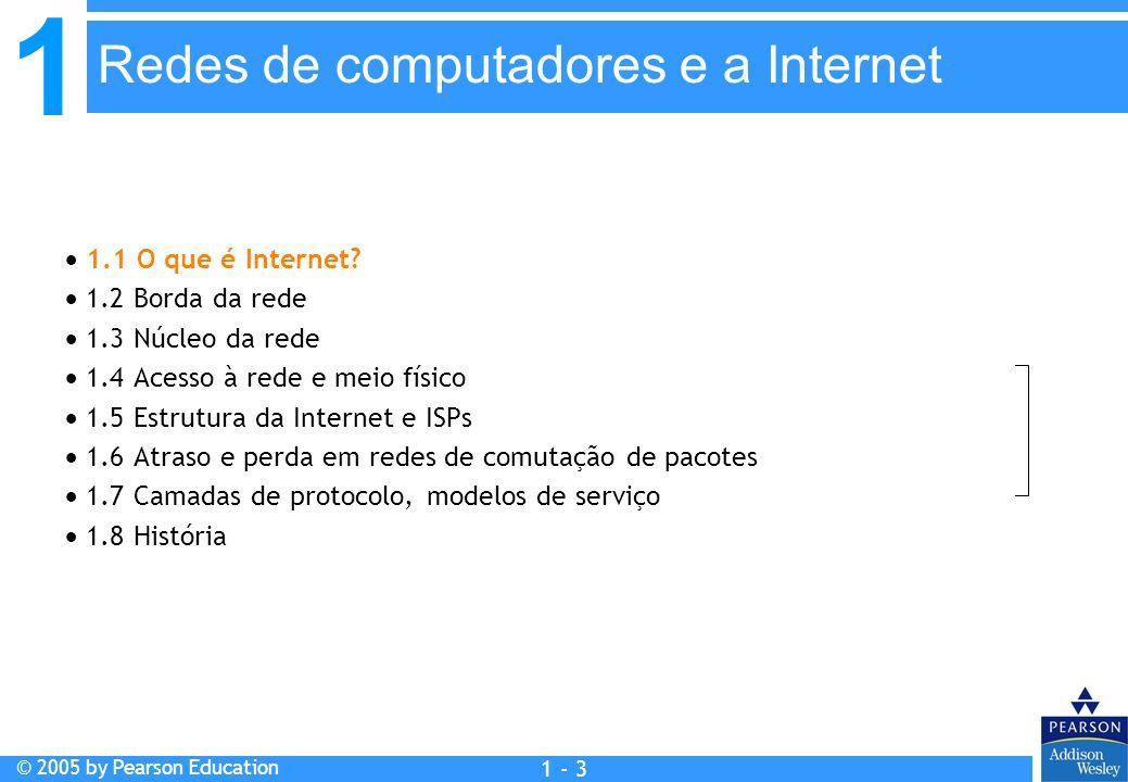 1 © 2005 by Pearson Education 1 - 3 Capítulo 1: Redes de computadores e a Internet 1.1 O que é Internet? 1.2 Borda da rede 1.3 Núcleo da rede 1.4 Aces
