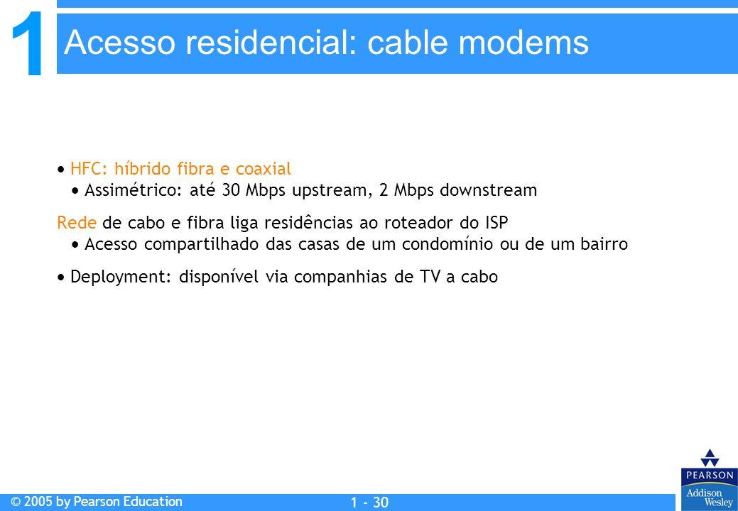 1 © 2005 by Pearson Education 1 - 30 HFC: híbrido fibra e coaxial Assimétrico: até 30 Mbps upstream, 2 Mbps downstream Rede de cabo e fibra liga resid