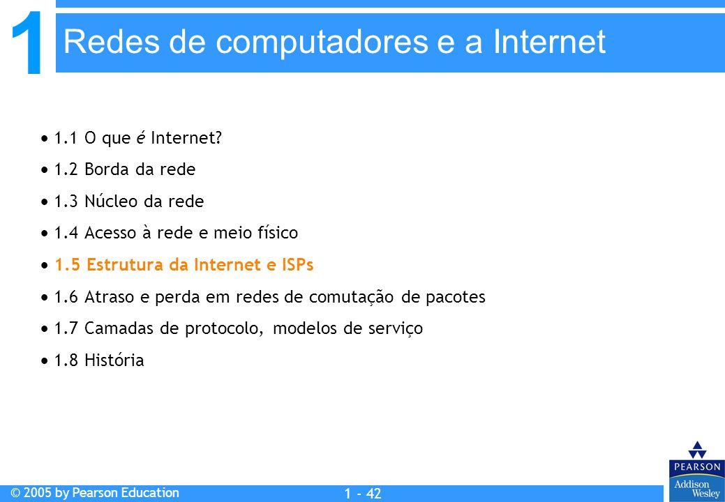 1 © 2005 by Pearson Education 1 - 42 1.1 O que é Internet? 1.2 Borda da rede 1.3 Núcleo da rede 1.4 Acesso à rede e meio físico 1.5 Estrutura da Inter