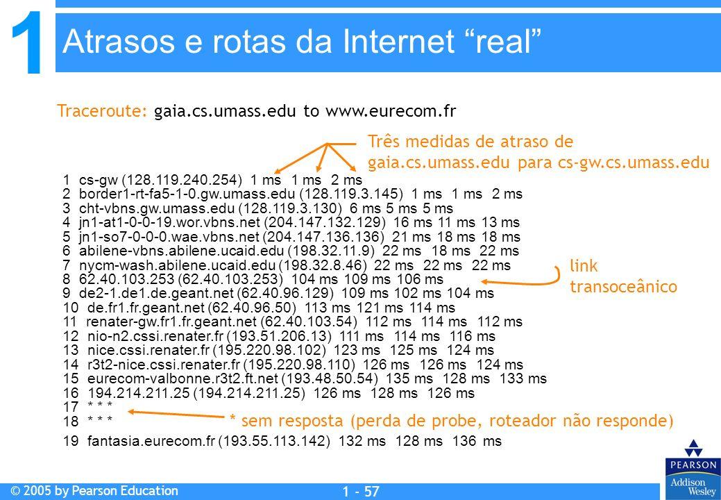 1 © 2005 by Pearson Education 1 - 57 1 cs-gw (128.119.240.254) 1 ms 1 ms 2 ms 2 border1-rt-fa5-1-0.gw.umass.edu (128.119.3.145) 1 ms 1 ms 2 ms 3 cht-v