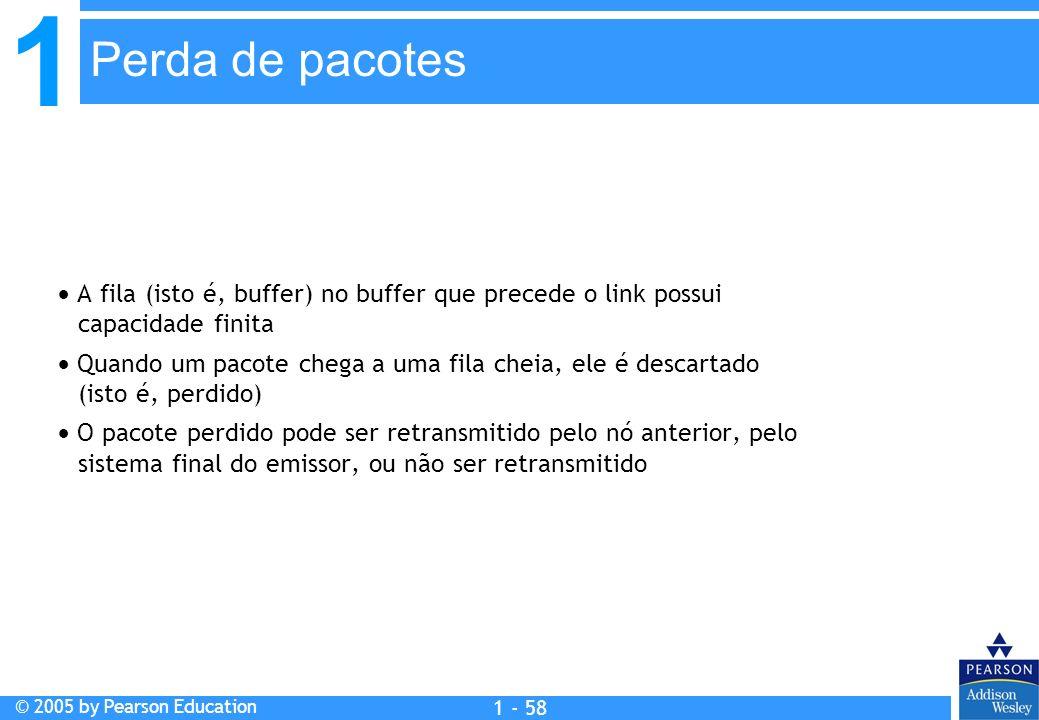 1 © 2005 by Pearson Education 1 - 58 A fila (isto é, buffer) no buffer que precede o link possui capacidade finita Quando um pacote chega a uma fila c