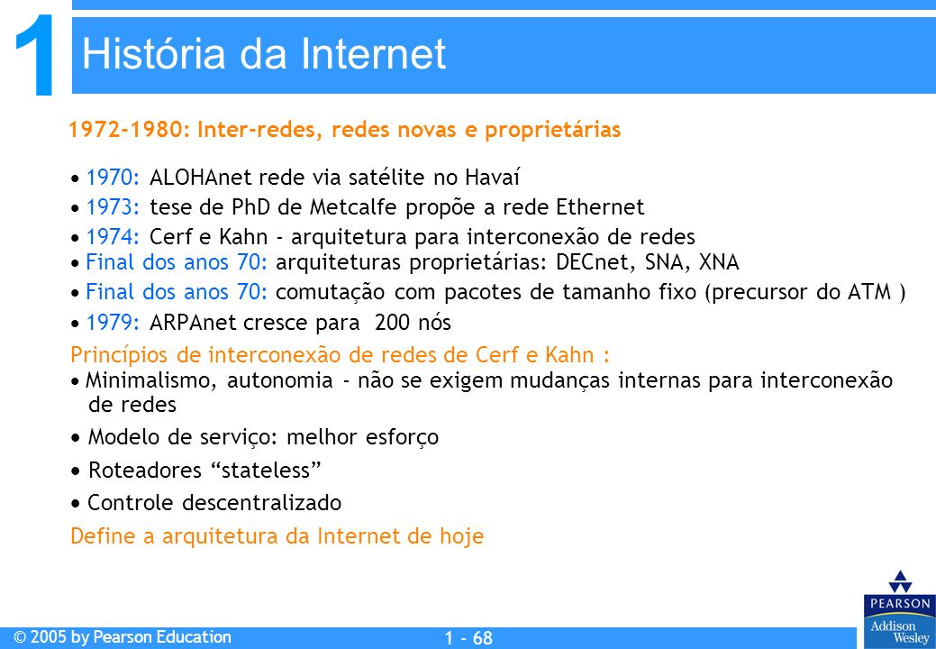 1 © 2005 by Pearson Education 1 - 68 1970: ALOHAnet rede via satélite no Havaí 1973: tese de PhD de Metcalfe propõe a rede Ethernet 1974: Cerf e Kahn