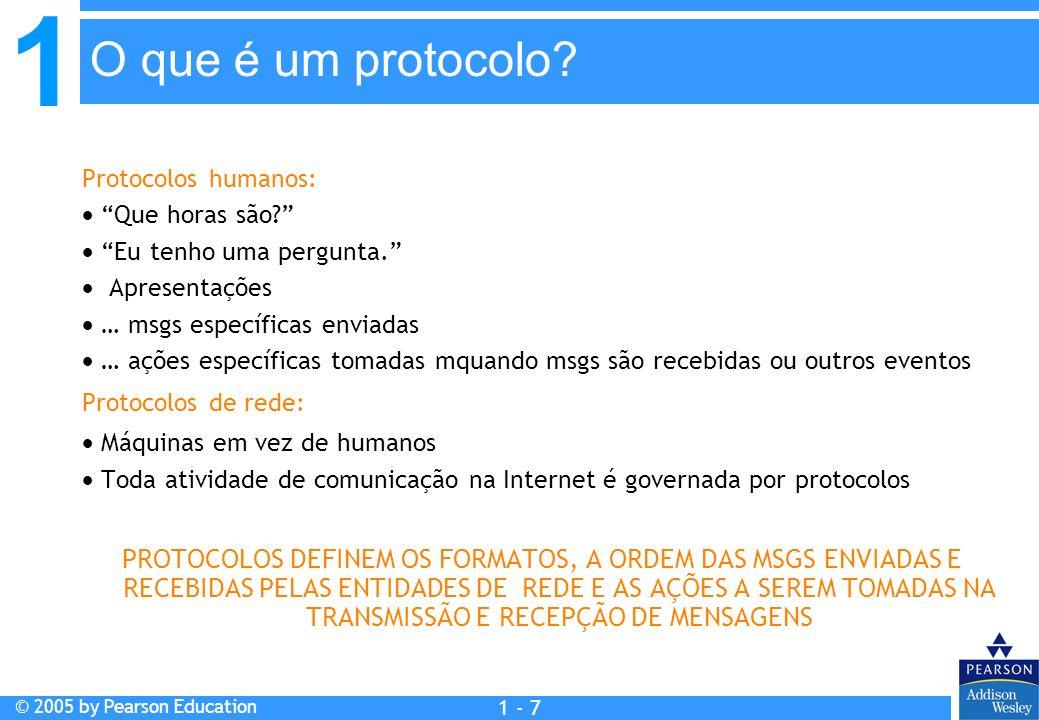 1 © 2005 by Pearson Education 1 - 8 Um protocolo humano e um protocolo de rede de computadores: O que é um protocolo?