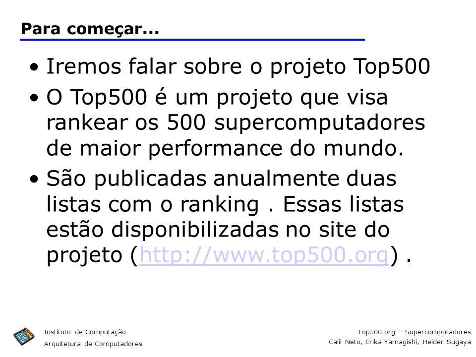 Top500.org – Supercomputadores Calil Neto, Erika Yamagishi, Helder Sugaya Instituto de Computação Arquitetura de Computadores Para começar... Iremos f