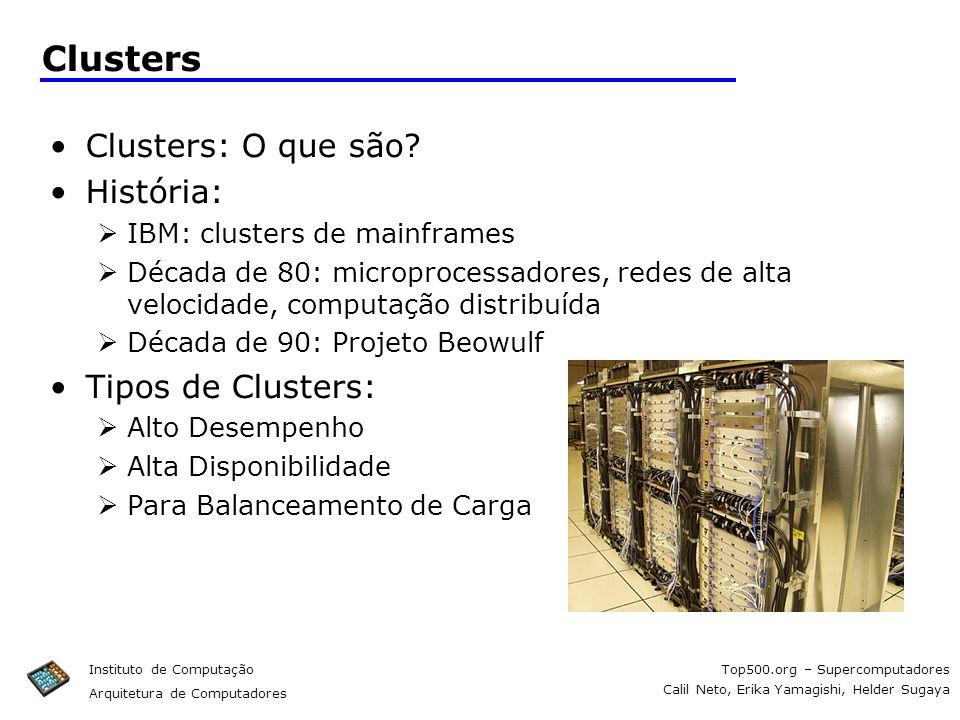 Top500.org – Supercomputadores Calil Neto, Erika Yamagishi, Helder Sugaya Instituto de Computação Arquitetura de Computadores Clusters Clusters: O que
