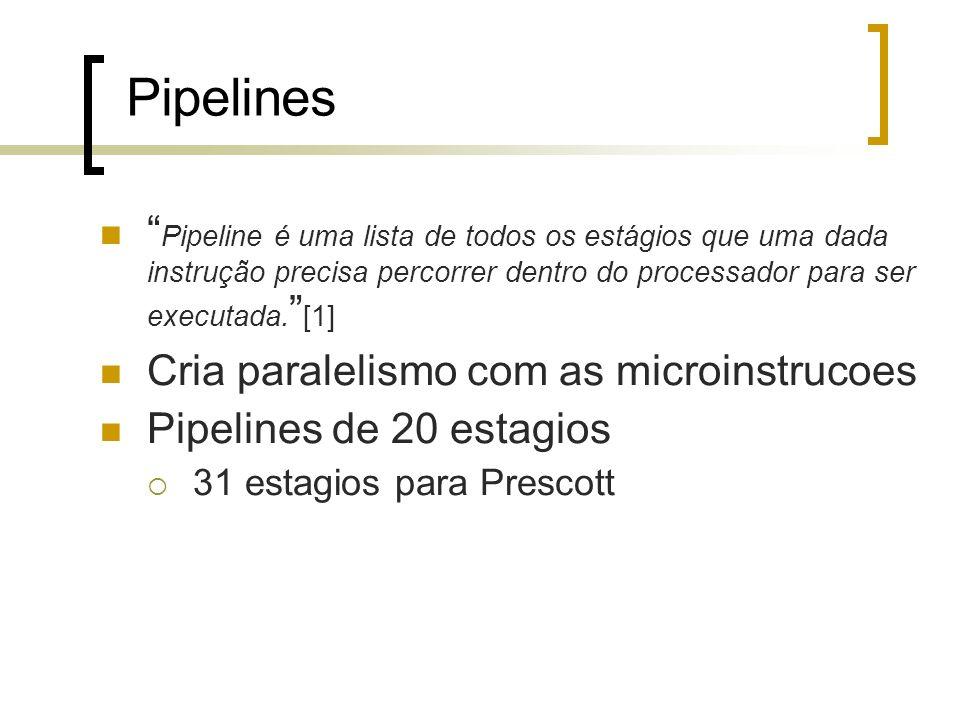 Pipelines Pipeline é uma lista de todos os estágios que uma dada instrução precisa percorrer dentro do processador para ser executada. [1] Cria parale