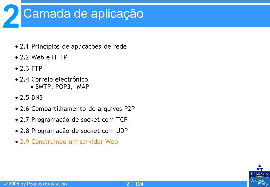 2 © 2005 by Pearson Education 2 - 104 2.1 Princípios de aplicações de rede 2.2 Web e HTTP 2.3 FTP 2.4 Correio electrônico SMTP, POP3, IMAP 2.5 DNS 2.6