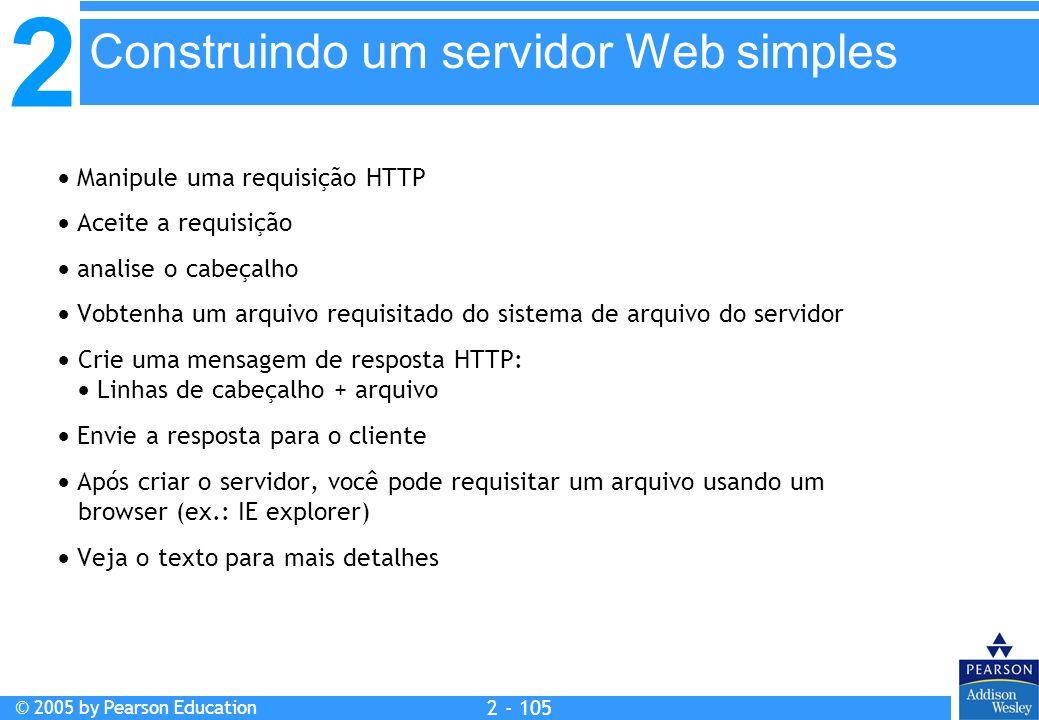 2 © 2005 by Pearson Education 2 - 105 Manipule uma requisição HTTP Aceite a requisição analise o cabeçalho Vobtenha um arquivo requisitado do sistema