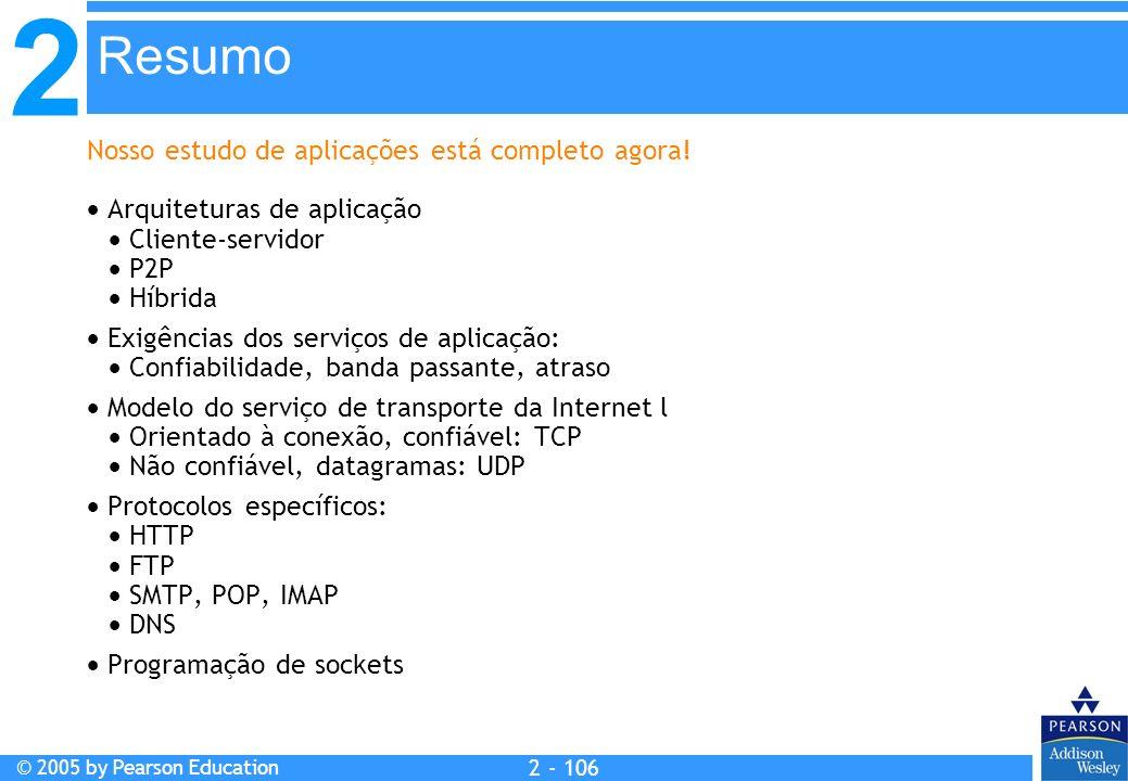 2 © 2005 by Pearson Education 2 - 106 Nosso estudo de aplicações está completo agora! Arquiteturas de aplicação Cliente-servidor P2P Híbrida Exigência