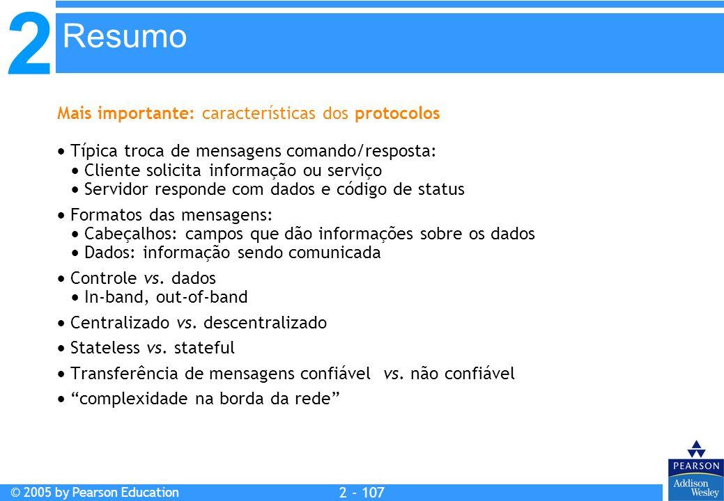 2 © 2005 by Pearson Education 2 - 107 Mais importante: características dos protocolos Típica troca de mensagens comando/resposta: Cliente solicita inf