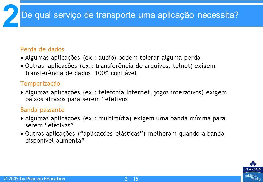 2 © 2005 by Pearson Education 2 - 15 Perda de dados Algumas aplicações (ex.: áudio) podem tolerar alguma perda Outras aplicações (ex.: transferência d