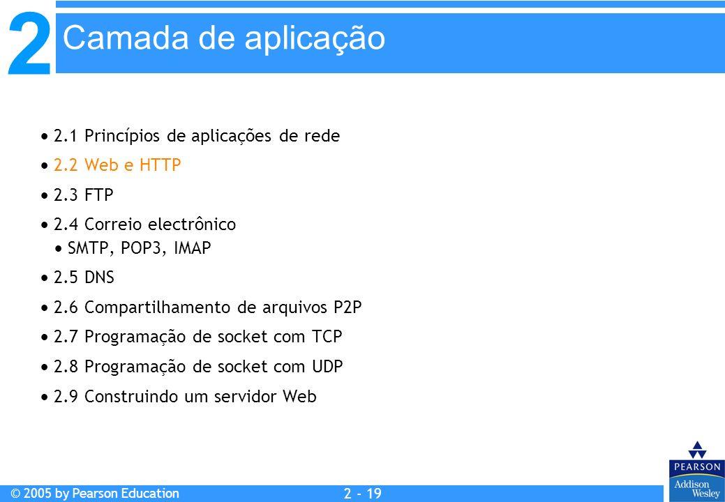 2 © 2005 by Pearson Education 2 - 19 2.1 Princípios de aplicações de rede 2.2 Web e HTTP 2.3 FTP 2.4 Correio electrônico SMTP, POP3, IMAP 2.5 DNS 2.6
