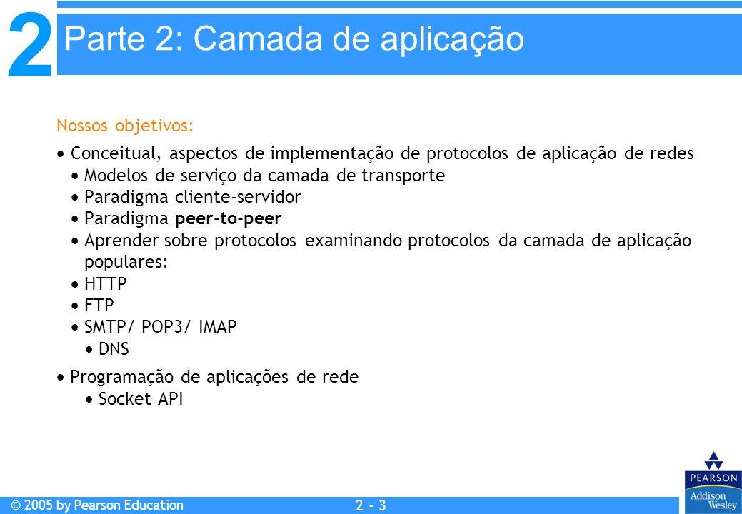 2 © 2005 by Pearson Education 2 - 74 Inserindo registros no DNS Exemplo: empresa recém-criada Network Utopia Registrar o nome networkuptopia.com num registrar (ex.: Network Solutions) É necessário fornecer ao registrar os nomes e endereços IP do seu servidor nomes autorizados (primário e secundário) Registrar insere dois RRs no servidor TLD do domínio com: (networkutopia.com, dns1.networkutopia.com, NS) (dns1.networkutopia.com, 212.212.212.1, A) No servidor autorizado, inserir um registro Tipo A para www.networkuptopia.com e um registro Tipo MX para networkutopia.com Como as pessoas obtêm o endereço IP do seu Web site.