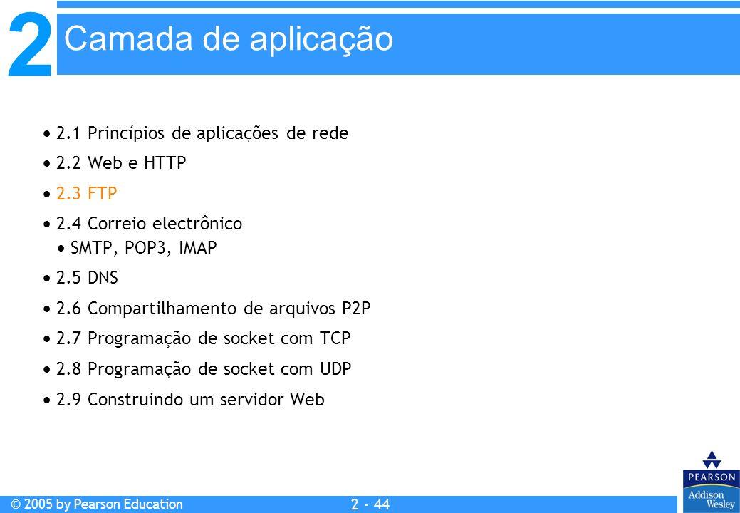 2 © 2005 by Pearson Education 2 - 44 2.1 Princípios de aplicações de rede 2.2 Web e HTTP 2.3 FTP 2.4 Correio electrônico SMTP, POP3, IMAP 2.5 DNS 2.6