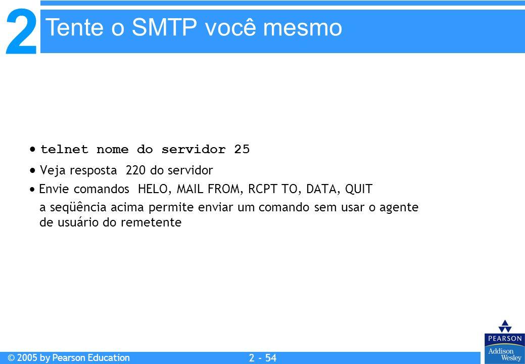 2 © 2005 by Pearson Education 2 - 54 telnet nome do servidor 25 Veja resposta 220 do servidor Envie comandos HELO, MAIL FROM, RCPT TO, DATA, QUIT a se