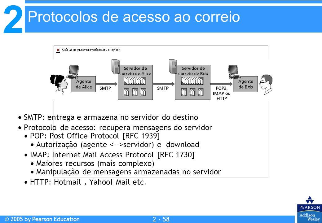2 © 2005 by Pearson Education 2 - 58 SMTP: entrega e armazena no servidor do destino Protocolo de acesso: recupera mensagens do servidor POP: Post Off