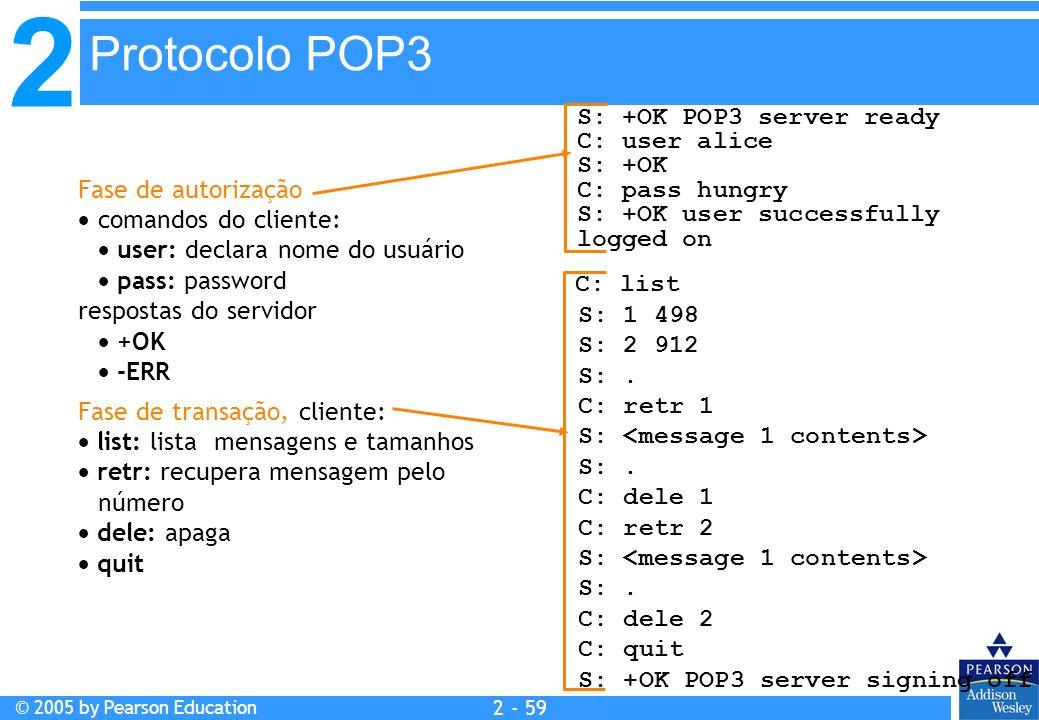 2 © 2005 by Pearson Education 2 - 59 Fase de autorização comandos do cliente: user: declara nome do usuário pass: password respostas do servidor +OK -