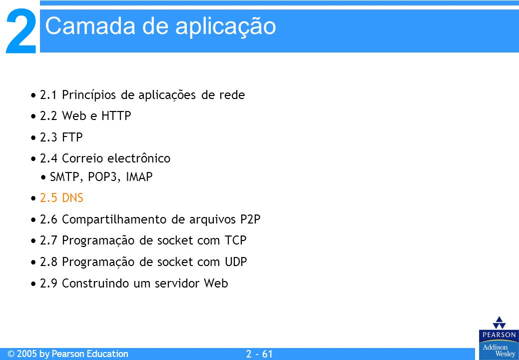 2 © 2005 by Pearson Education 2 - 61 2.1 Princípios de aplicações de rede 2.2 Web e HTTP 2.3 FTP 2.4 Correio electrônico SMTP, POP3, IMAP 2.5 DNS 2.6