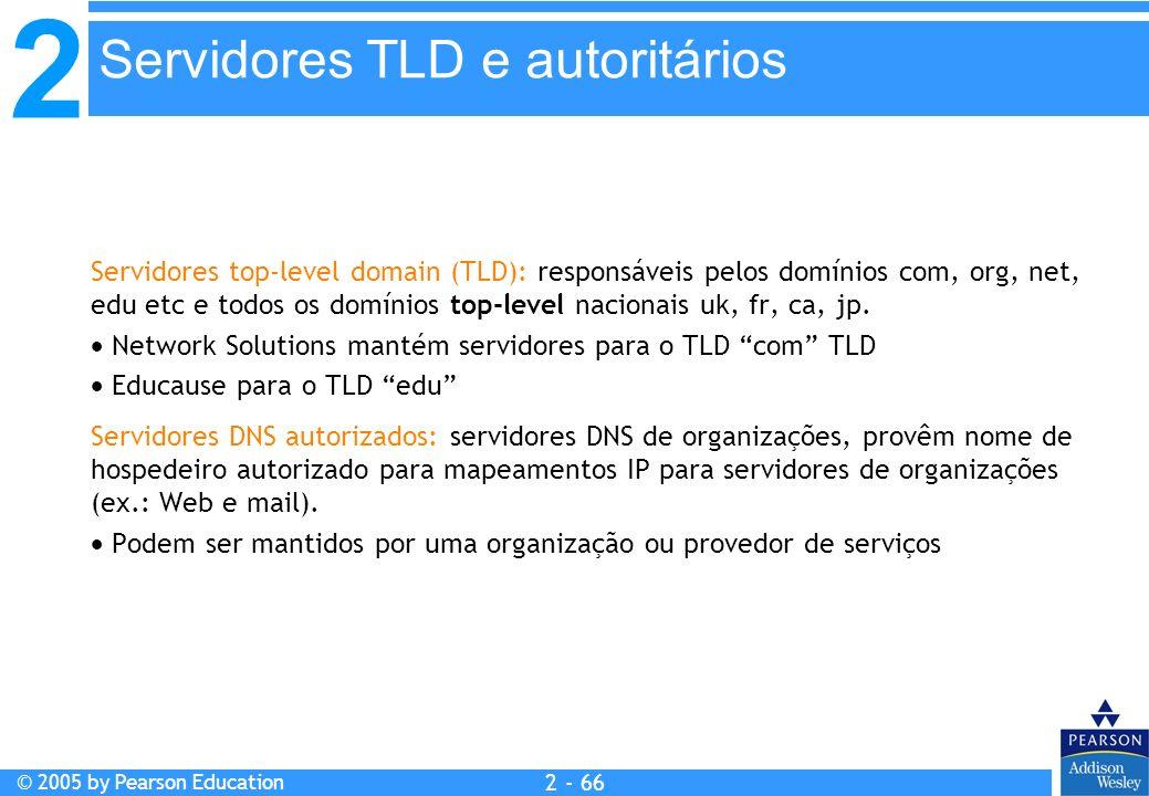 2 © 2005 by Pearson Education 2 - 66 Servidores top-level domain (TLD): responsáveis pelos domínios com, org, net, edu etc e todos os domínios top-lev