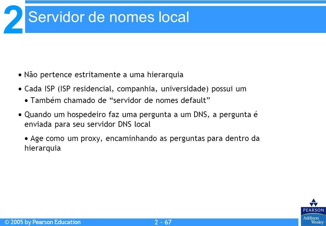 2 © 2005 by Pearson Education 2 - 67 Não pertence estritamente a uma hierarquia Cada ISP (ISP residencial, companhia, universidade) possui um Também c