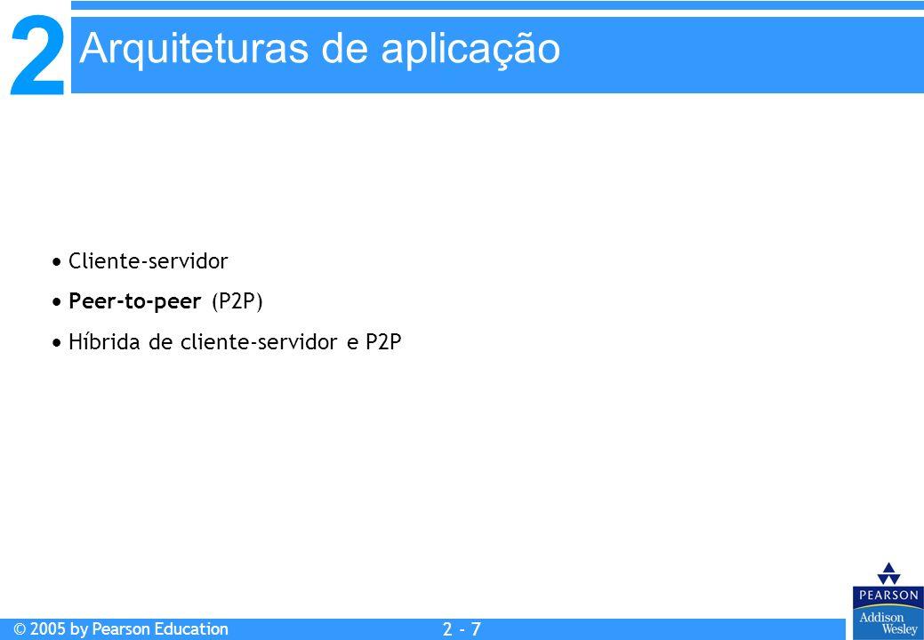 2 © 2005 by Pearson Education 2 - 7 Cliente-servidor Peer-to-peer (P2P) Híbrida de cliente-servidor e P2P Arquiteturas de aplicação