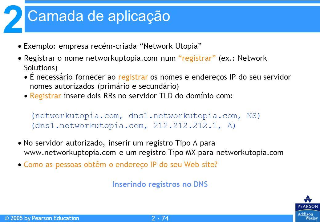 2 © 2005 by Pearson Education 2 - 74 Inserindo registros no DNS Exemplo: empresa recém-criada Network Utopia Registrar o nome networkuptopia.com num r