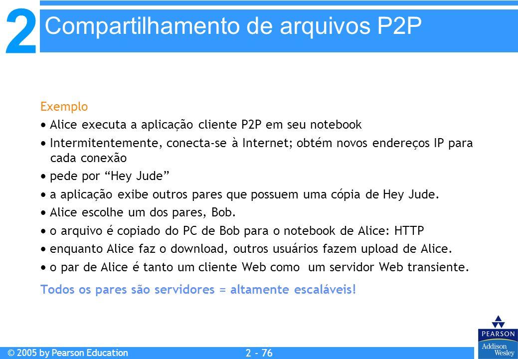 2 © 2005 by Pearson Education 2 - 76 Exemplo Alice executa a aplicação cliente P2P em seu notebook Intermitentemente, conecta-se à Internet; obtém nov