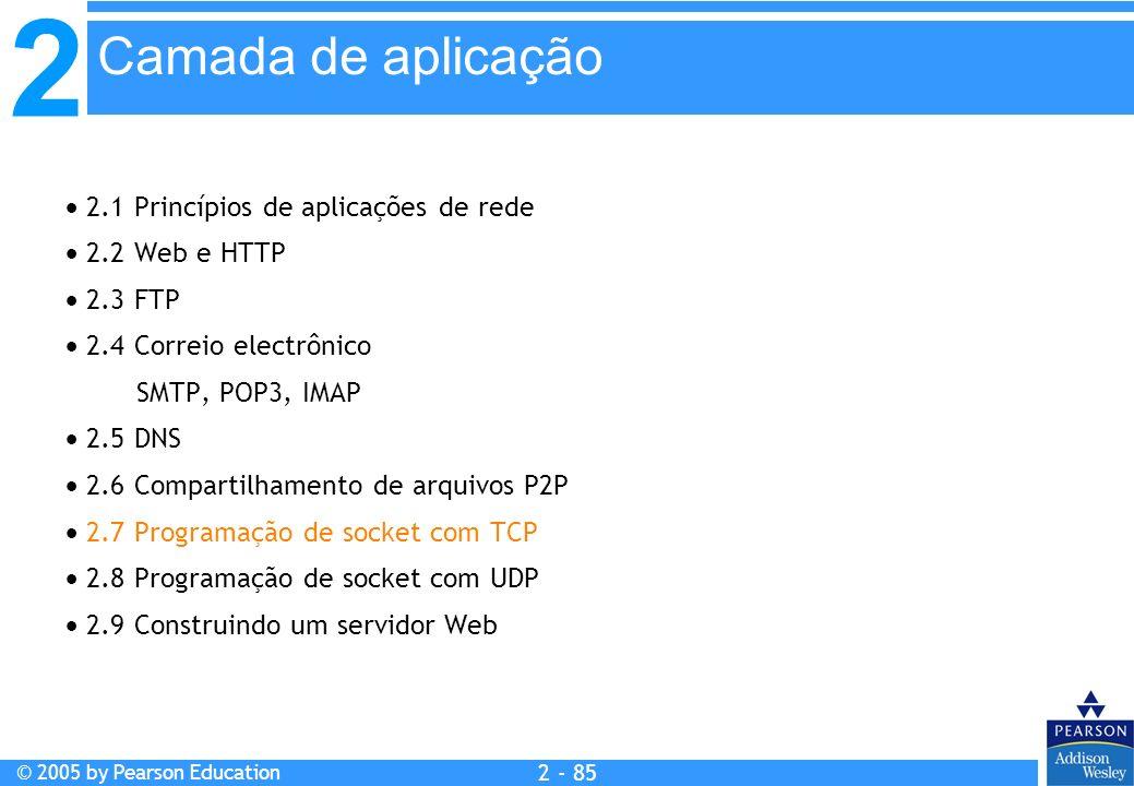 2 © 2005 by Pearson Education 2 - 85 2.1 Princípios de aplicações de rede 2.2 Web e HTTP 2.3 FTP 2.4 Correio electrônico SMTP, POP3, IMAP 2.5 DNS 2.6