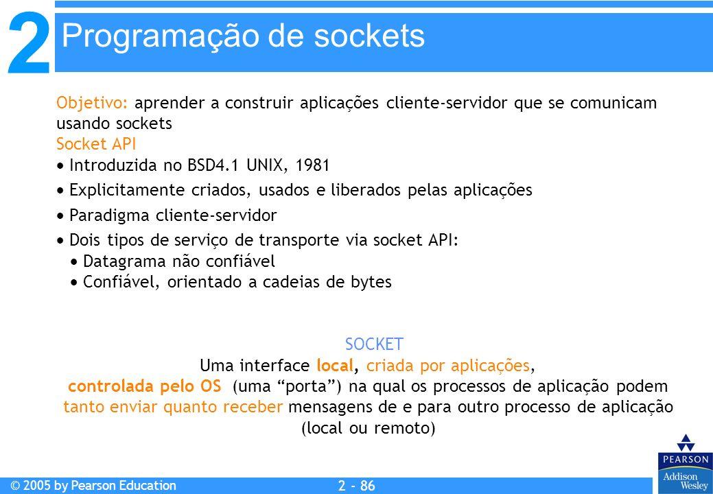 2 © 2005 by Pearson Education 2 - 86 Objetivo: aprender a construir aplicações cliente-servidor que se comunicam usando sockets Socket API Introduzida