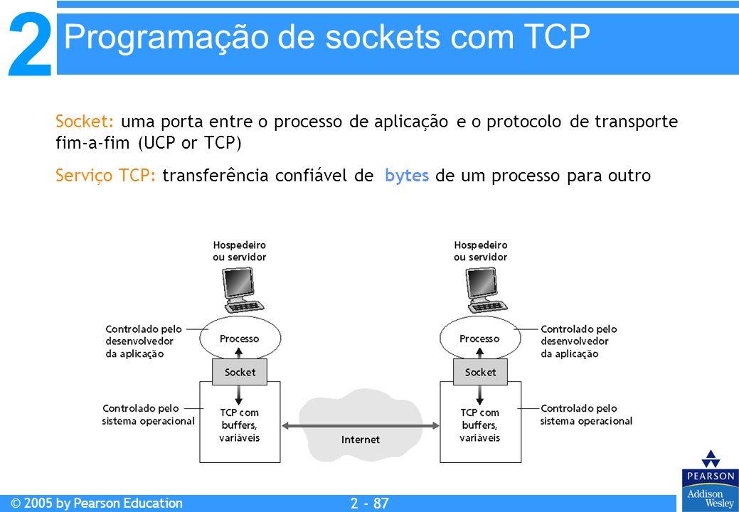 2 © 2005 by Pearson Education 2 - 87 Programação de sockets com TCP Socket: uma porta entre o processo de aplicação e o protocolo de transporte fim-a-