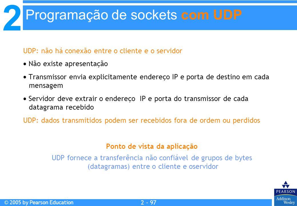 2 © 2005 by Pearson Education 2 - 97 UDP: não há conexão entre o cliente e o servidor Não existe apresentação Transmissor envia explicitamente endereç